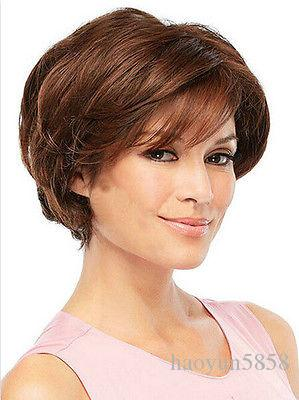 very nice short straight brown fashion womens wig for women wig Free deliver