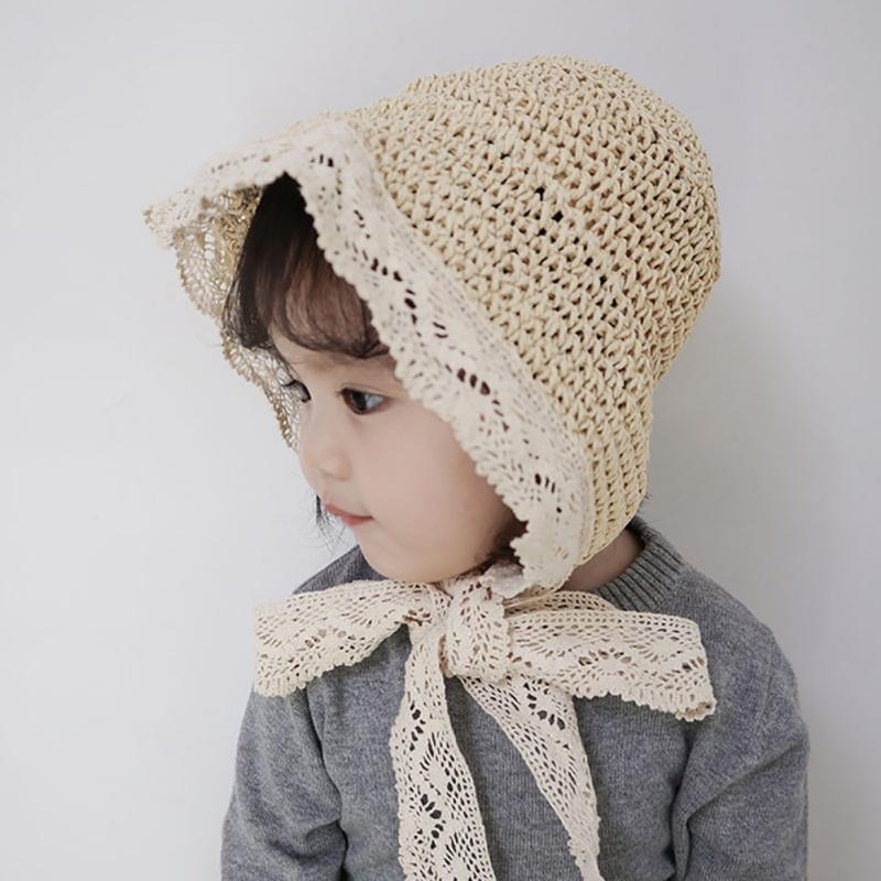Verano de los bebés del sombrero de paja con el cordón niños respirables cabritos del sombrero de la playa del casquillo del visera