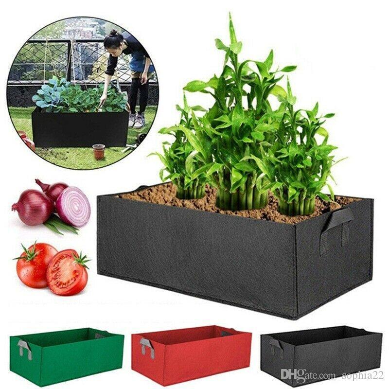 Fabric Raised Garden Plant Bed Grow Bag Flower Elevated Vegetable Box Pocket