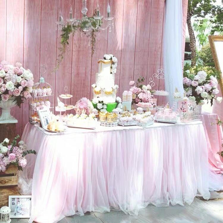 얇은 명주 그물 표 웨딩 장식 생일 아기 샤워 파티 장식 화이트 핑크 퍼플 식기 식탁보 홈 섬유에 대한 스커트