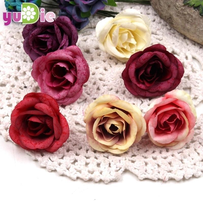 100pcs 4cm Artificial Flower Silk Rose Head Wedding Party Decoration Diy Jewelry Brooch Headdress Process Artificial Flower J190707