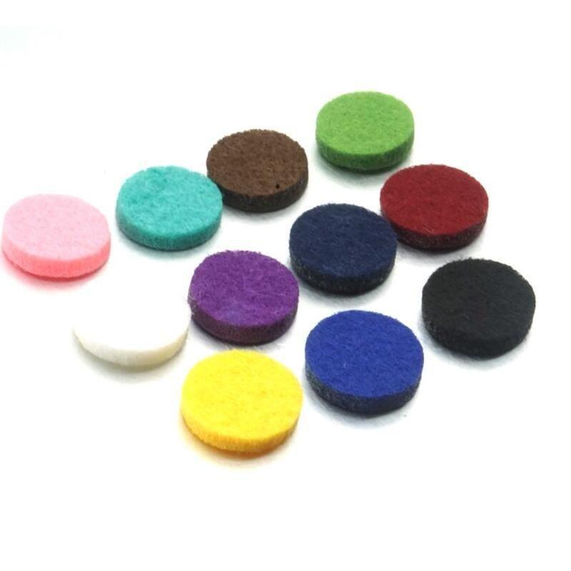 10 coloridas almofadas de feltro redondo essenciais Difusor espaçadores de petróleo para essenciais encantos Oil Difusor Locket Jóia por atacado
