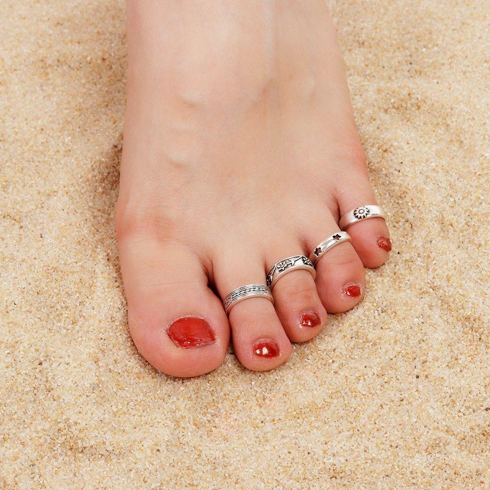 Frauen Retro verstellbare 925 Silber überzog Zehenring Fuß Strand*