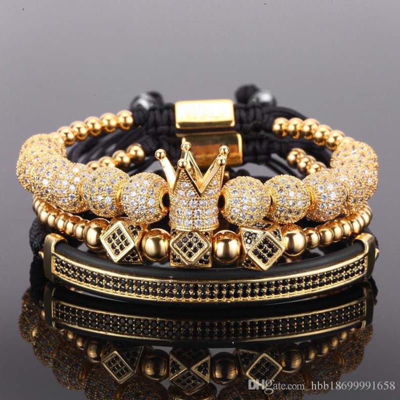 3pcs/set couple bracelet/stainless steel beads/crown/2018/for lovers/bracelets for women men luxury jewelry man pulseira bileklik