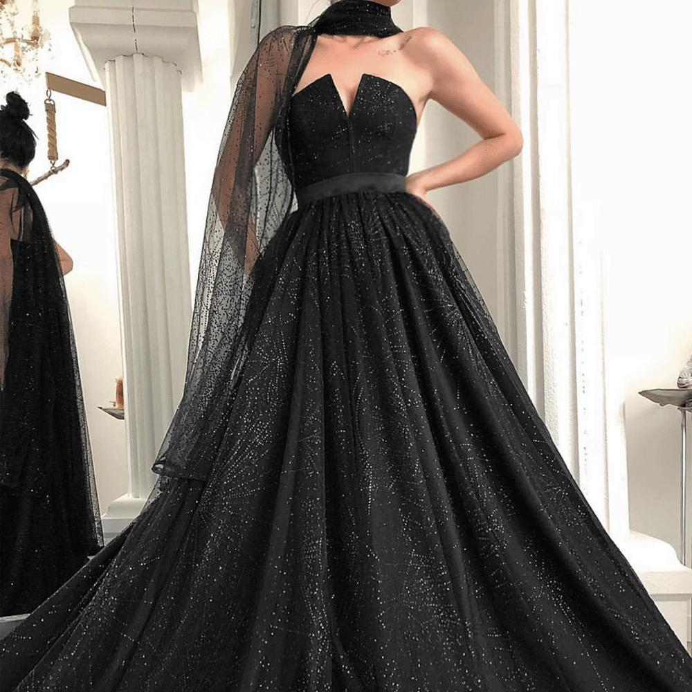 Black Sparkle Sequins Ball gown Prom Dresses 2020 Elegant Formal Evening Gowns with Scarf Ruffle Zipper Back vestido de festa