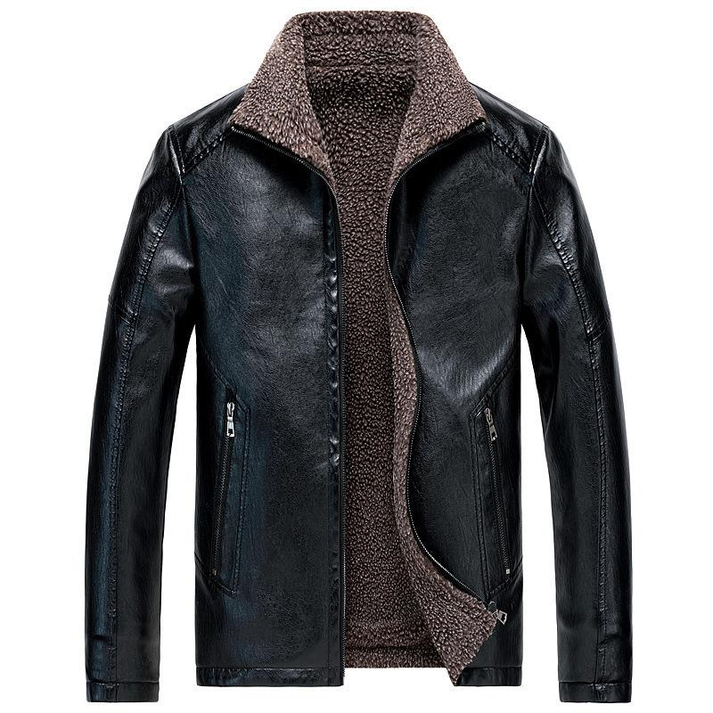 Winter Pu Leather Jacket Men Thick Velvet Fleece Warm Outwear Jacket Coat Zipper Motorcycle Plus Size Oversized Leather Jacket T200318