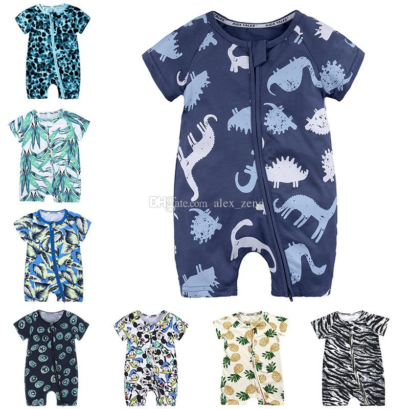 Palm Leaves and Flamingo Newborn Baby Girl Boy Romper Jumpsuit Outfit Short Sleeve Bodysuit Tops Clothes