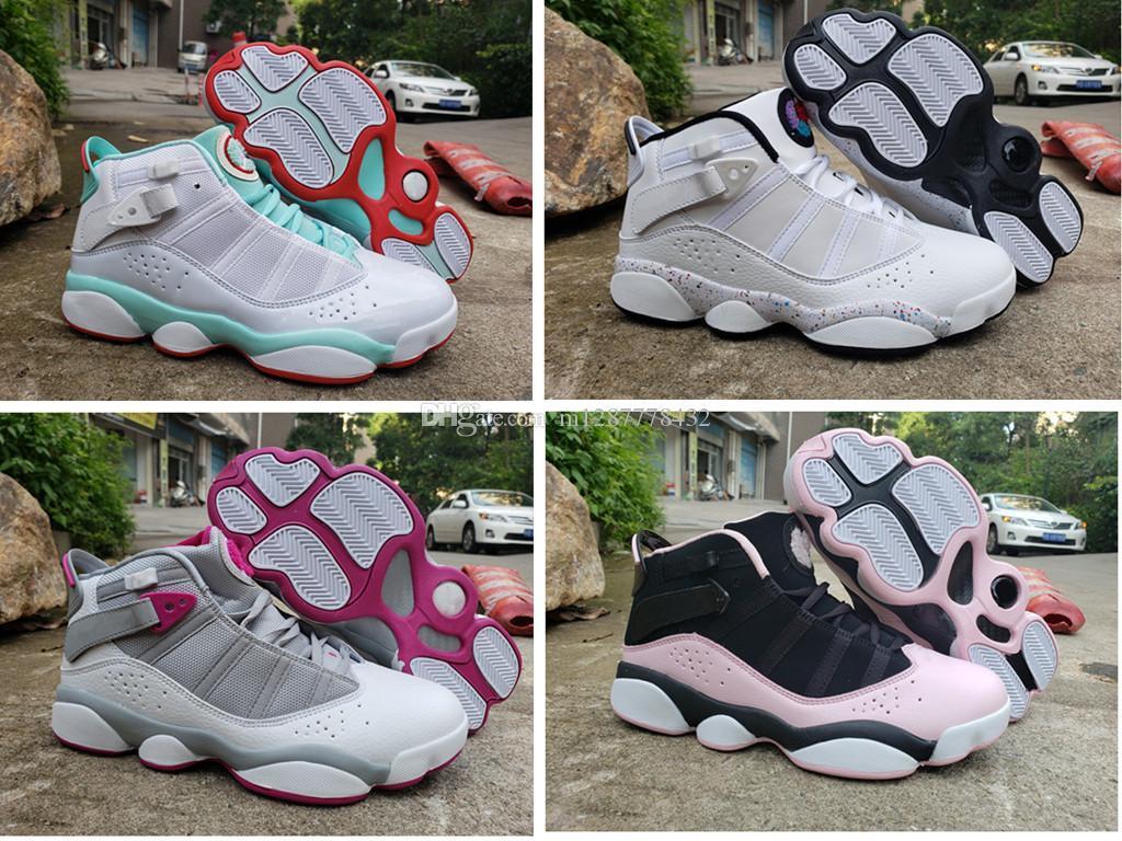 6 6s sei anelli donne di pallacanestro delle scarpe da tennis Bred ghiaccio rosa Palestra Coriandoli rossi ragazze 2019 Classic Cesti pattini US 5.5-8