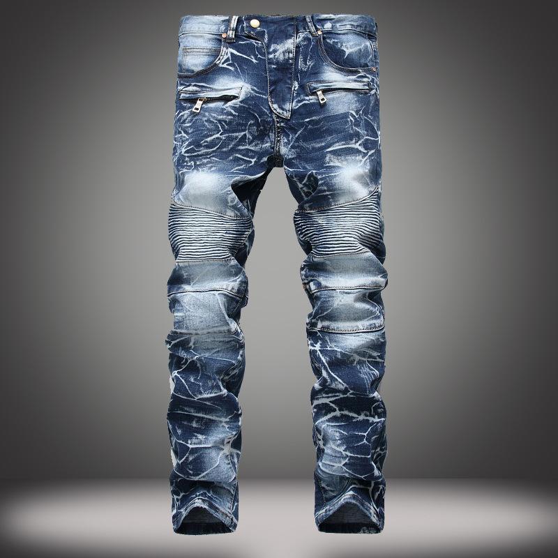 Chegada nova marca mens designer de moda de neve magro motociclista casual jeans reta motocicleta calças de alta qualidade Destruído