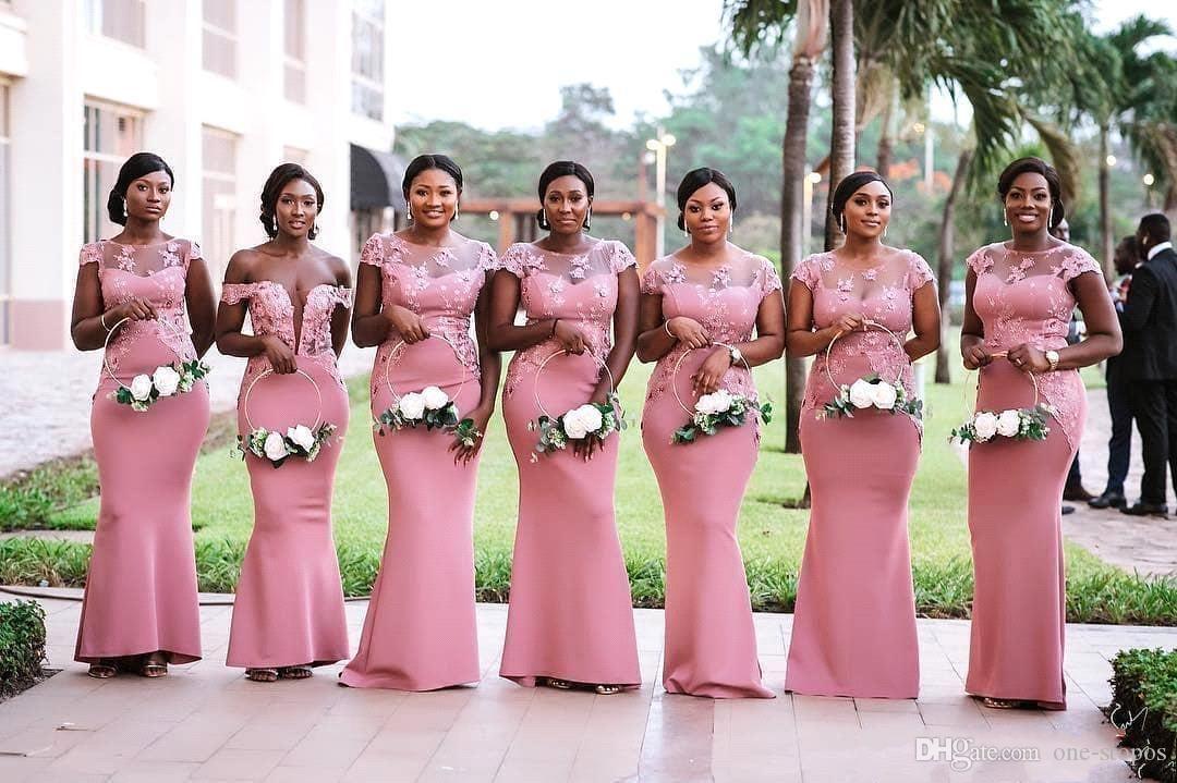 Pas cher Blush Rose Robe De Demoiselle D'honneur De Sirène Sexy Dentelle Appliqué De Mariage Robe Robe Chaude Africaine Gaine Formelle Robe De Soirée De Bal Robes BM0614