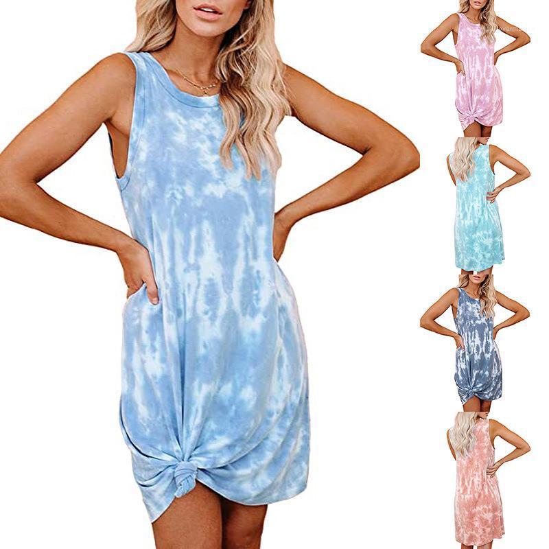 Robe cou Mode Famale Vêtements Casual Femmes Tie Dye Gilet Robe d'été en vrac manches Crew