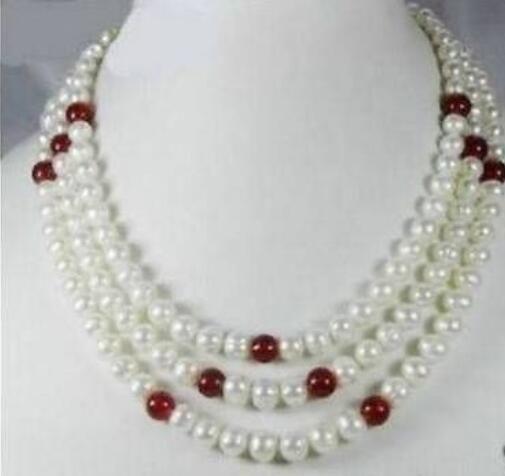 Jewelryr жемчужное ожерелье оптом 3 ряда 7-8 мм белый пресноводный жемчуг красный природный камень ожерелье бесплатная доставка