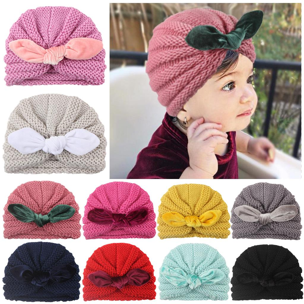 Wholesale 52 designs Baby Girl Boy Knitted Turban Bunny Ears Bow Hat with dots velvet striped grid floral bowknot decoration fashion kid cap