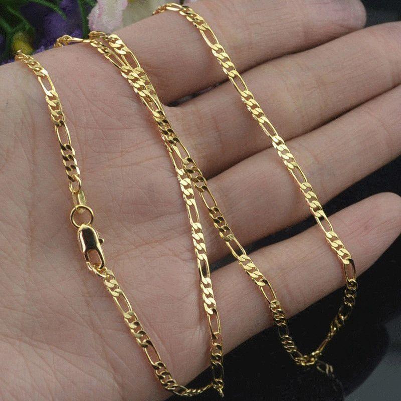 Catene 2 millimetri Larghezza oro collana per le donne gli uomini d'argento maglia dei monili collana di modo all'ingrosso 2020