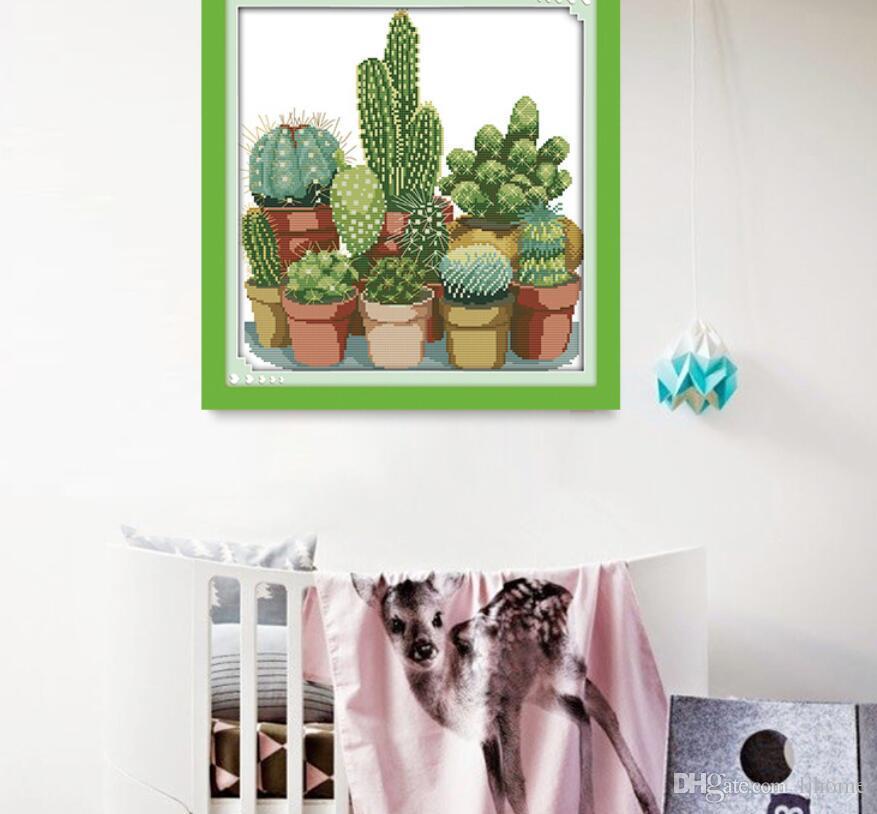 Compre 2019 Nuevos Cactus Patrones De Punto De Cruz Contado 11CT ...