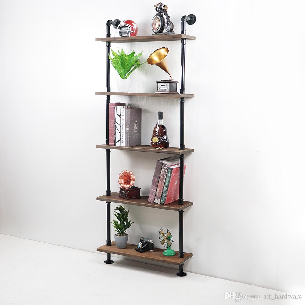 2019 Diy Industrial Pipe Shelving Bookshelf Rustic Modern Wood Pipe Wall Shelf Wall Rack With 5 Tier From Att Hardware 97 7 Dhgate Com