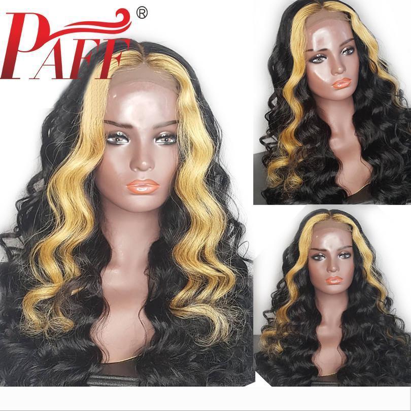 PAFF Glueless cheveux humains pleine perruque de dentelle de Remy de Brésilien cheveux dénoués Vague Ombre Couleur Faits saillants PrePlucked Hairline
