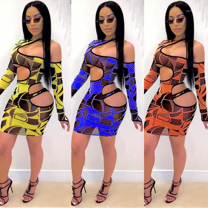 Ver a través de manga larga para mujer de los vestidos de noche de Bodycon del club del partido atractivo del vestido de las mujeres ahueca hacia fuera los vestidos de moda