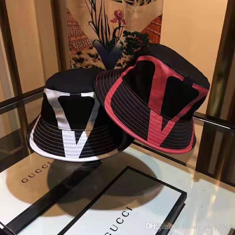 Paño de lujo mezclado letras grandes clásicos del sombrero del cubo de moda Fold capaces casquillo casquillos plegable Negro de lujo Pescador Playa parasol