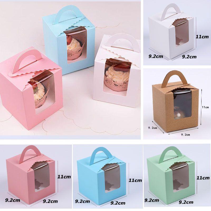 Tek Cupcake Kutuları Pencereli Kolu Ile Macaron Kutusu Mus Kek Kutusu Doğum Günü Partisi Bakeware Mutfak Yemek Bar Malzemeleri HH9-2279