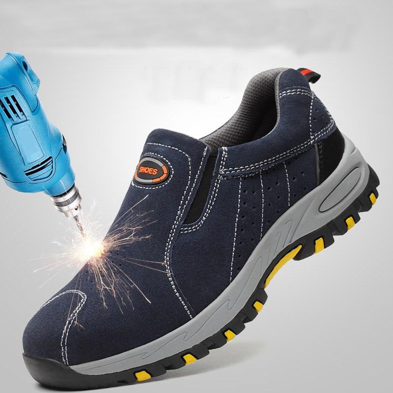Puntale in acciaio Sicurezza sul Lavoro scarpe da uomo 2020 di moda estate slittamento respirabile sui Casual Boots Mens assicurativi; puntura scarpe Proof