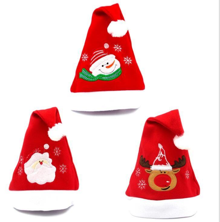 Weihnachtsweihnachtsmann-Hüte Party-Hüte für Weihnachtsmann-Kostüm Weihnachtsdekoration für Kinder Erwachsene Stickerei-Kappe