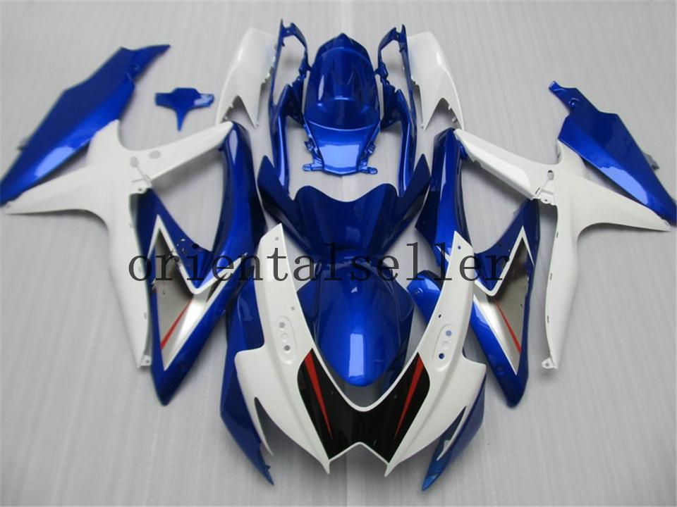 GOOD For SUZUKI GSXR 600 750 GSX R750 R600 GSXR600 08 09 10 GSX-R750 GSXR-600 K8 GSXR750 2008 2009 2010 blue black white Fairing kit Aa21