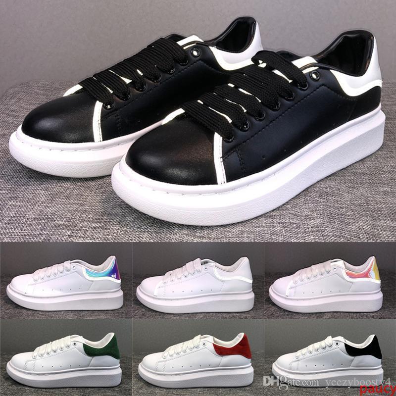 3M reflectantes zapatos de cuero para hombre del diseñador para mujer para hombre de planos ocasionales zapatos de boda de la plataforma del partido de oro blanco Balck zapatillas de terciopelo de lujo