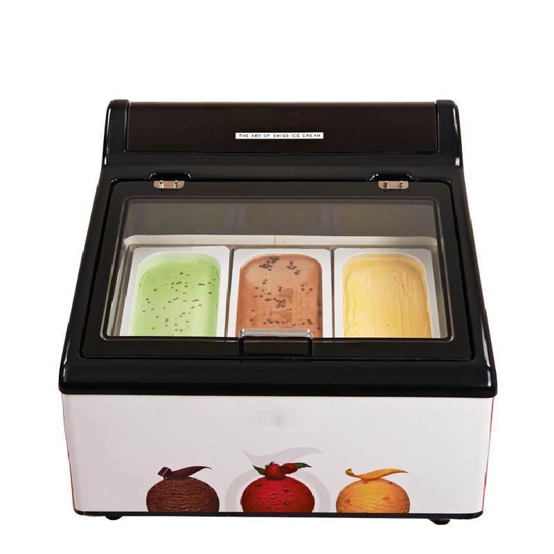 Бесплатная доставка 3 кастрюли настольный дисплей мороженого Мороженое электрический столешница дисплей морозильник фрукты мороженое витрина шкафы