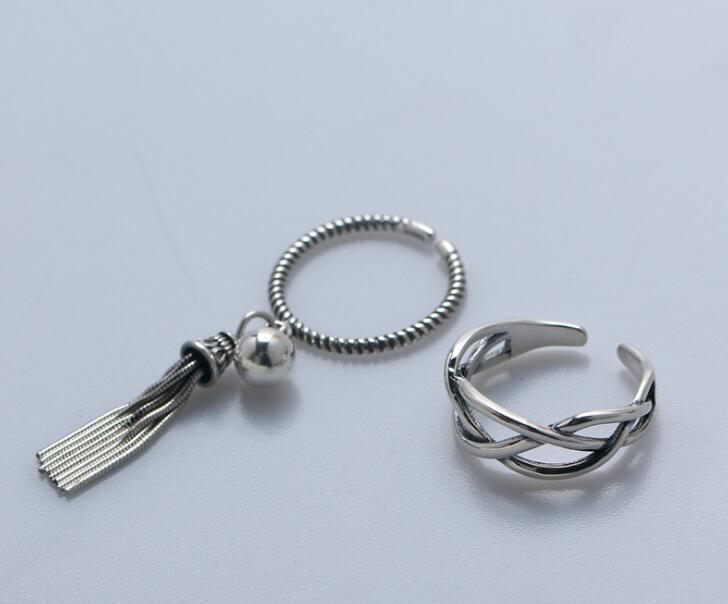 1pc des femmes authentiques en argent Sterling S925 Fine géométrique ouverte torsadée cordée / perles bague pompon chanceux ajuster J445