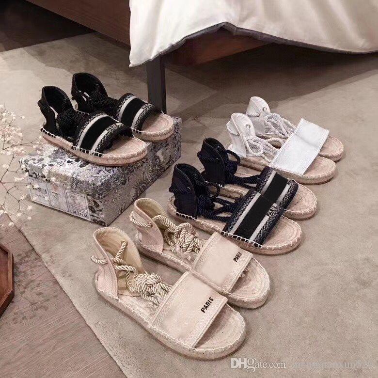 Piattaforma estiva Sandali casual alfabeto alfabeto di modo in pelle donna scarpa corda di canapa erba lace up mocassini tessuti designer donne pescatori scarpe di grandi dimensioni 35-41-42 US4-US11