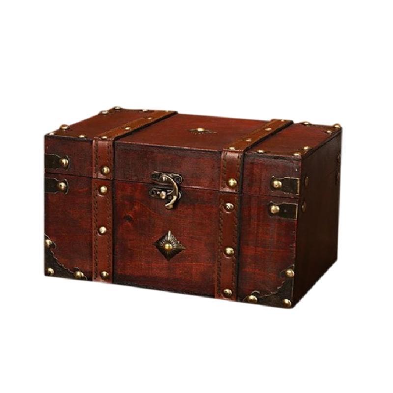 Retro Treasure Chest Vintage Wooden Storage Box Antique Style Jewelry Organizer for Jewelry Box Trinket Box