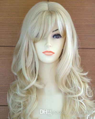 Sıcak Satmak Yeni Moda Uzun Işık Sarışın Kıvırcık kadın lady Saç Peruk Peruk + Kap