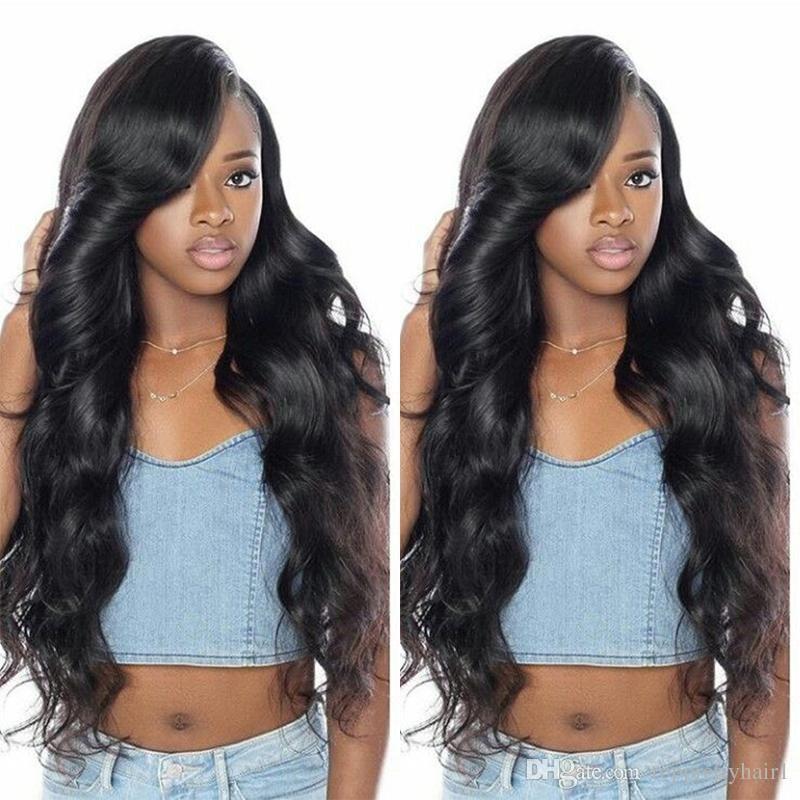 Бразильские парики из натуральных волос с боковыми челками для чернокожих женщин предварительно сорвал Glueless