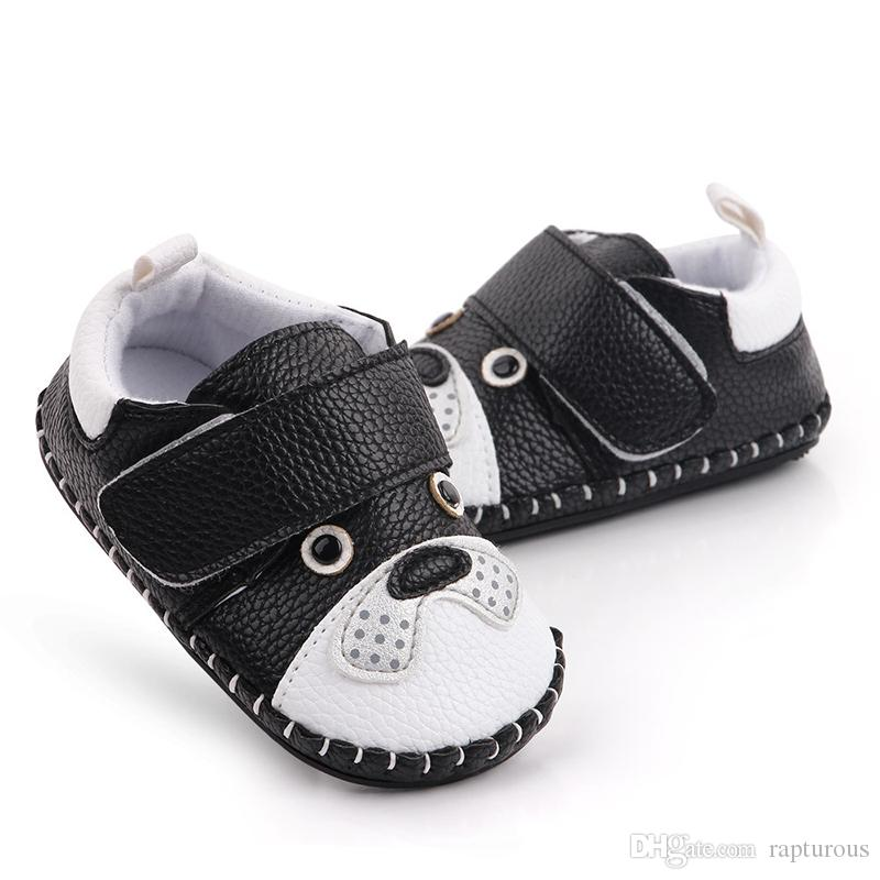 0-18 شهور كارتون الكلب حيوان طفلة الأحذية الجلدية فتاة المطاط الانزلاق على جولة تو منقوش جلد PU حذاء طفل صبي