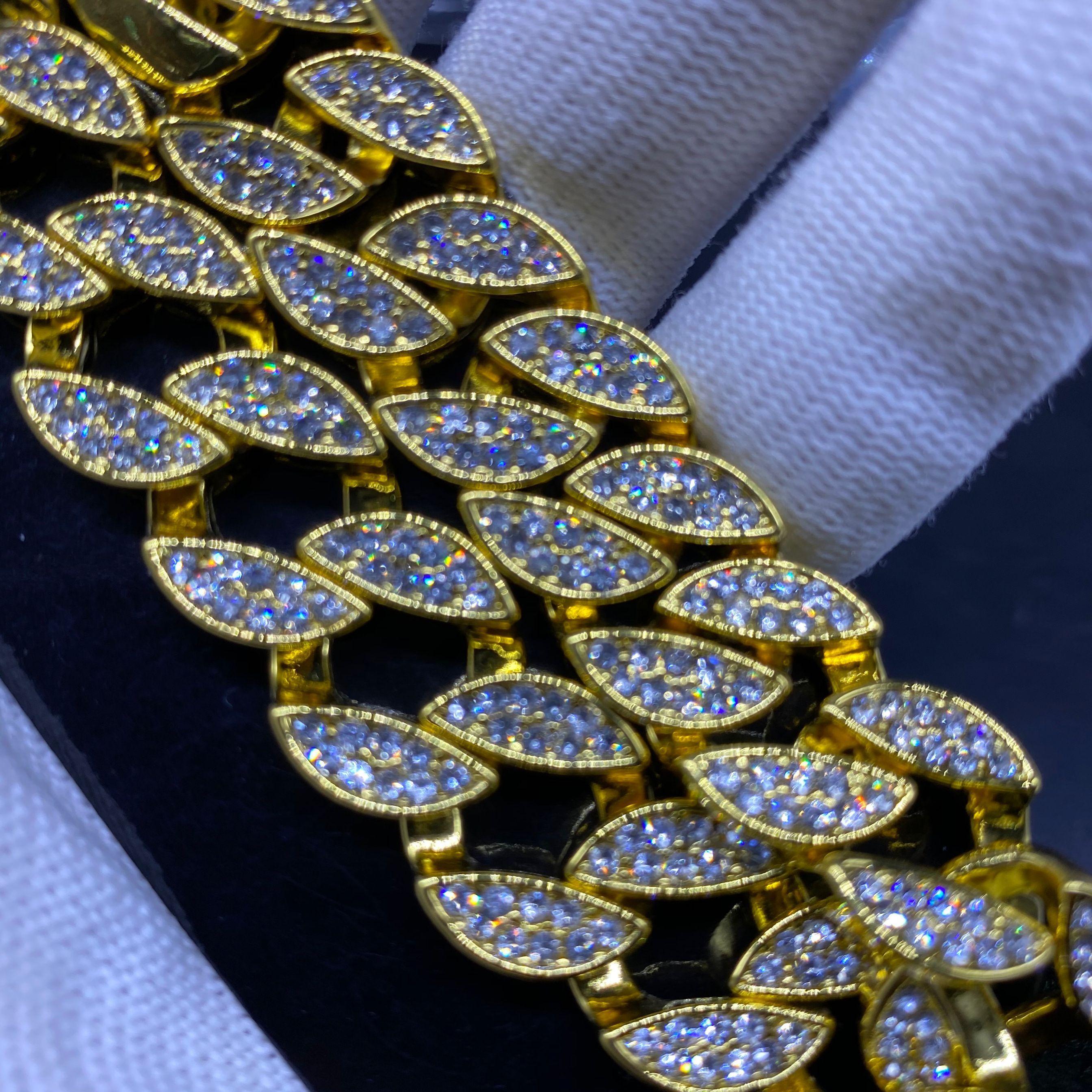 or Cuba chaîne hip hop rappeurs de mode bijoux collier de diamants de la colle chaude