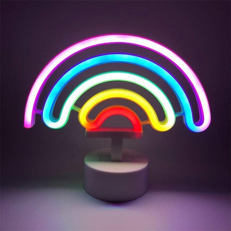 Dekoratif LED Gökkuşağı Şeklinde Neon Burcu Işık Sanat neon Ev Dekorasyon Gökkuşağı Gece Işığı Yatak Noel Sevgililer Günü Partisini Sign