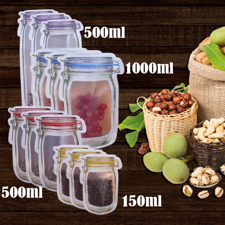 Оптовая 50 шт Mason молнии Сумки Кухня Питание Свежий Герметизация Mason Jar бутылки сумка Закуска Герметичный мешок для кухни Холодильник Организатор