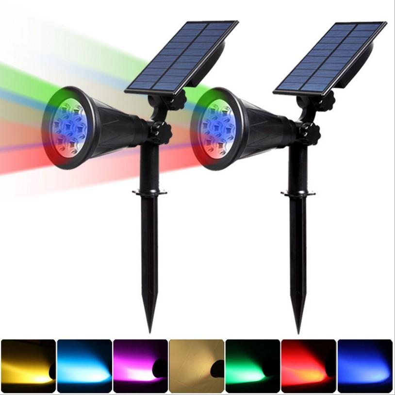 7 LED Solar Powered Lawn light Spotlight Waterproof IP65 Outdoor Landscape Spot Lights Control Inserting Floor Garden Light