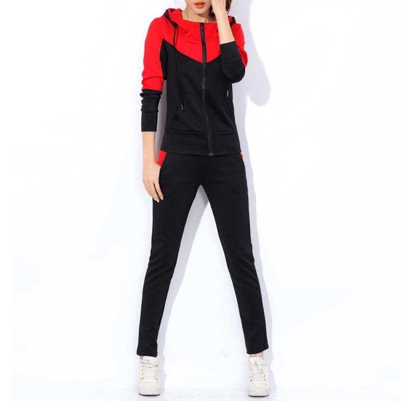Два куска платья осень женский трексуит капюшон топ + брюки спортивный костюм O-образным вырезом с длинным рукавом толстовка толстовки вскользь спортивная одежда