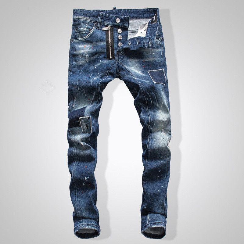 Nouveautés hommes jeans déchirés avec Crystal Rock Revival Poches Goujons Denim Jean Pantalon motard Pantalon desiger pantalon taille des hommes 30-40