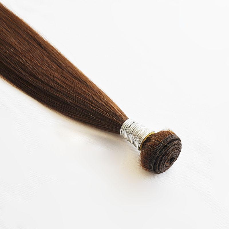 Brasilianisches Jungfrau-Haar gerade Welle 95g / pc Rohboden brasilianisches Menschenhaar Weaves Bundles Brown-Farbe 4 # 3pcs ein Los