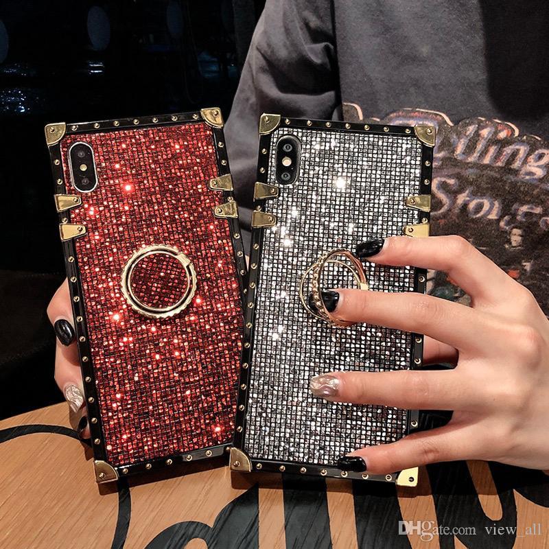 Роскошный Bling Блеск Алмазный Квадрат Kickstand Дизайнерский Телефон Чехол Для iPhone 6 6 s 7 8 Плюс X Xr Xs Макс Мода Мягкий Силиконовый Чехол