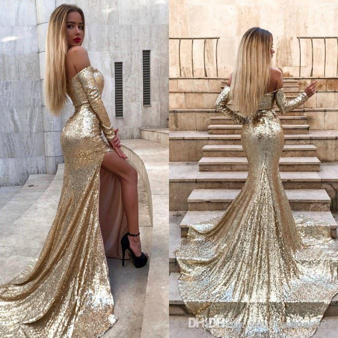 Sexy Gold Sequins Split Mermaid Long Prom Dresses Off The Shoulder Long Sleeves Split Sweep Train Formal Party Evening Gowns Custom