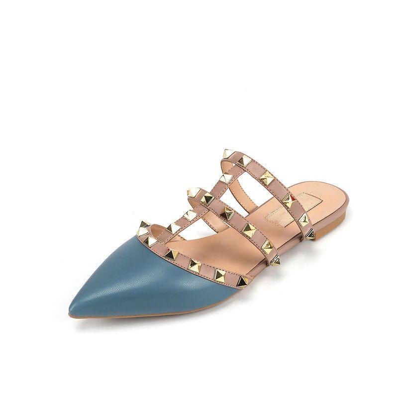 Frauen flache Hausschuhe Slip-on-Mules Rivet T-Riemen Slides Beleg auf Loafers Damen Spitzschuh 2-Strap mit Nieten Sandalen Q-592