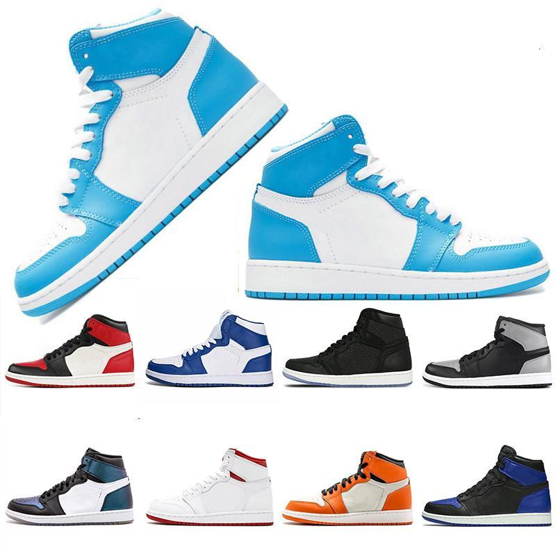 UNC quebrado encosto Bred homens Toe mulheres 1s sapatos altos de basquete tênis barato vermelho Chicago sneakers tamanho eru40-46 frete grátis