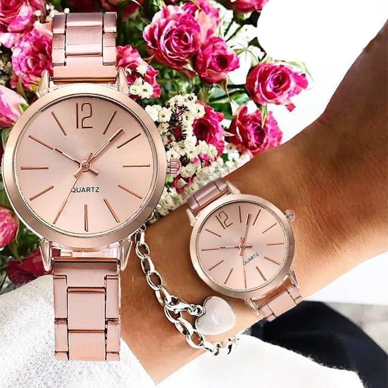 2020 Top New Fashion Damenuhr Edelstahl mit Quarz-Taktgeber Kleinen Dial Einfache Legierung mit Damen-Armbanduhr