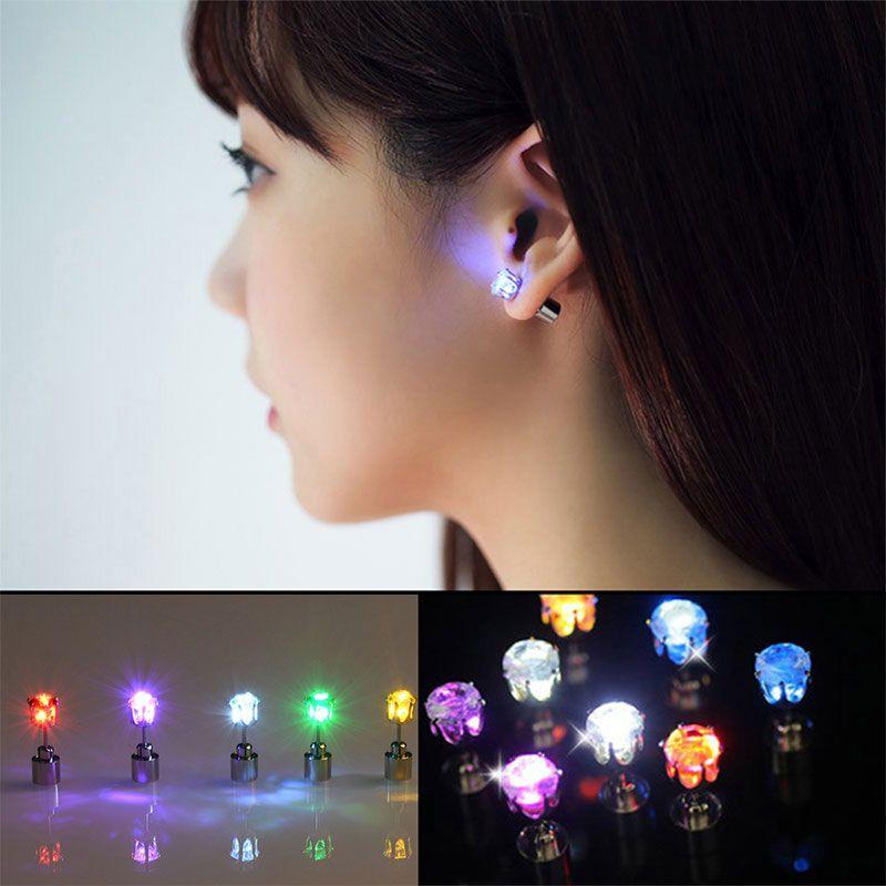 BRELONG LED Earring Light Up Crown Glowing Crystal Stainless Ear Drop Ear Stud Earring Jewelry for Dance/Xmas/KTV Party Women Girl