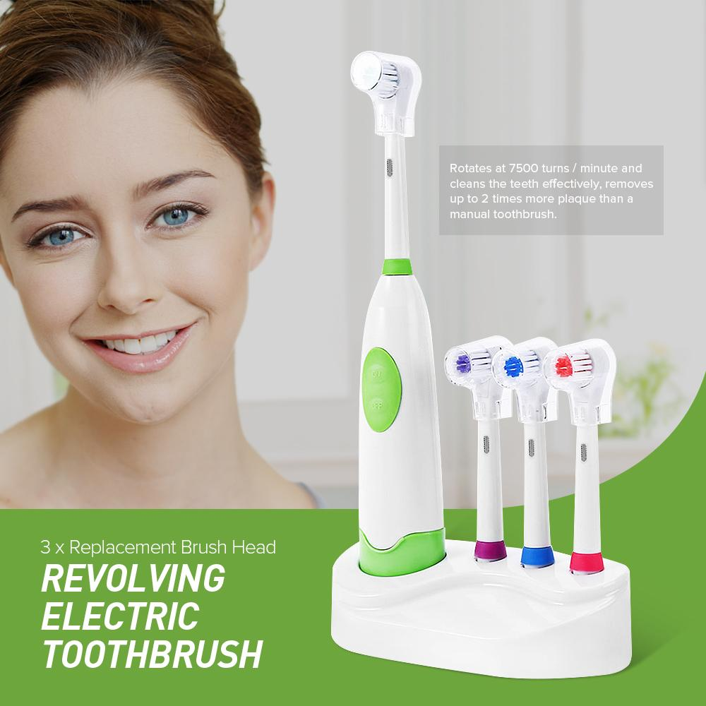 1 Set New Design Battery Operated Electric Toothbrush Waterproof Dental Care Revolving Toothbrush Heads + 3 Nozzles Oral Hygiene C18112601