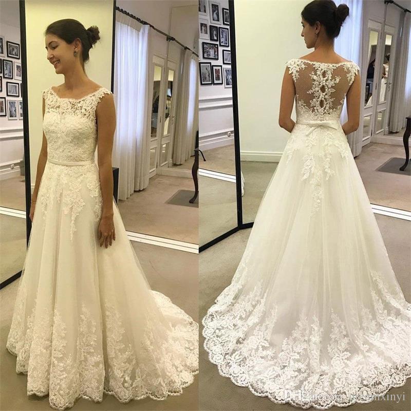 Einfache A Line Lange Brautkleider 2019 New Scoop Neck Bodenlangen Spitze Applique Bogen Perle Hochzeitskleid Brautkleider Nach Maß